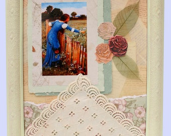 Mixed Media Collage, In the Garden, Vintage Print, Vintage Lace, Handmade Paper, Lace Covered Frame