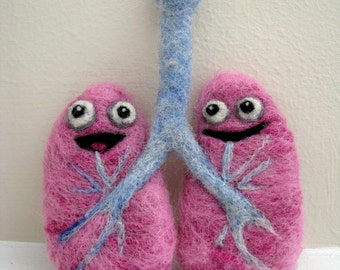 Needle Felted Healthy Lungs - Made to Order-  Yay, You Quit Smoking