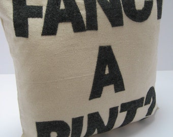 Fancy a Pint -  handmade appliqued decorative throw pillow / cushion 16in (41cm) sq  - make a statement