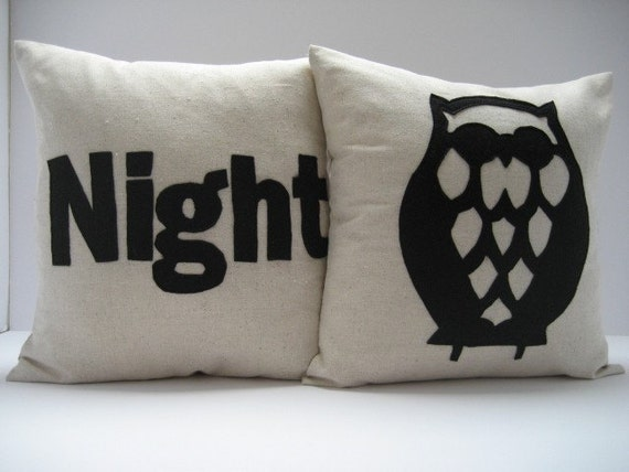 NIGHT OWL in Black - PAIR of pillows / cushions 14in (36cm) Sq