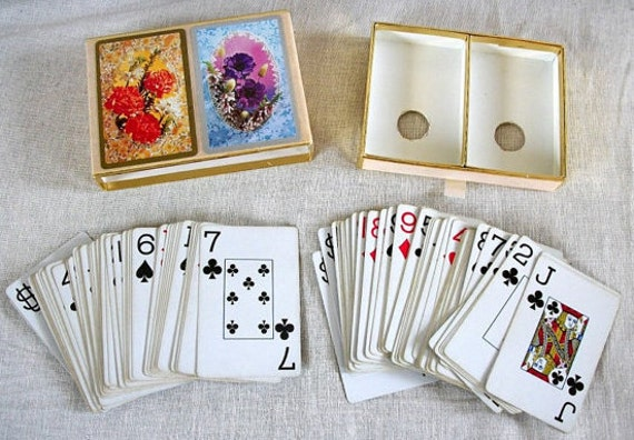 Vintage Game Cards, Vintage Playing Cards, Game Cards, Congress Playing Cards, Orange and Purple Floral Cards, Vintage Deck of Cards