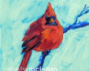 Cardinal - Male Cardinal - Bird Art - Paper - Canvas - Wood Block