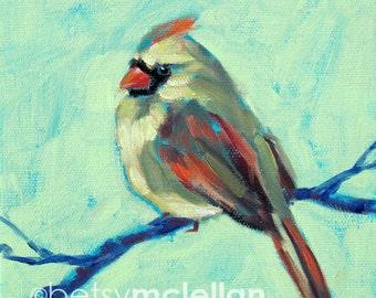 Cardinal - Female Cardinal - Bird Art - Paper - Canvas - Wood Block