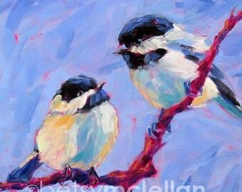 Chickadees - Chickadee Pair - Bird Art - Giclee Print