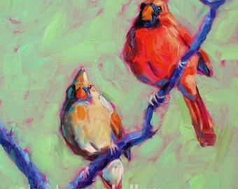 Cardinals - Cardinal Pair - Bird Art - Paper - Canvas - Wood Block - Giclee Print