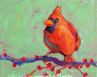 Cardinal - Male Cardinal - Bird Art - Paper - Canvas - Wood Block - Giclee Print