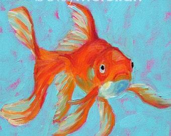 Goldfish - Goldfish Art - Fancy Goldfish - Paper - Canvas - Wood Block