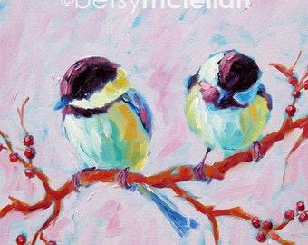 Chickadees - Chickadee Art - Bird Art - Paper - Canvas - Wood Block
