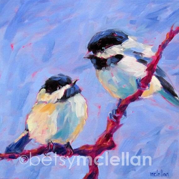 Chickadees - Chickadee Pair - Bird Art - Paper - Canvas - Wood Block
