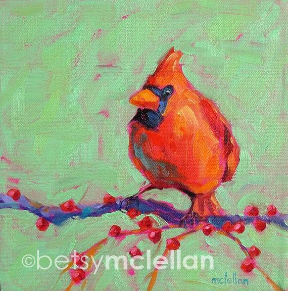 Cardinal - Male Cardinal - Bird Art - Paper - Canvas - Wood Block - Giclee Print