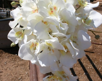 White Cascading Orchid Bridal Bouquet