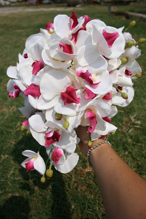 Fuchsia and White Butterfly Orchid Cascade Bouquet