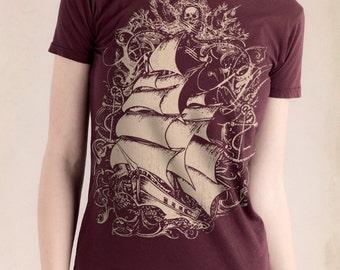 Pirate Ship Womens T-Shirt, Tall Ship, Women's Bordeaux T-shirt, Gift for Her