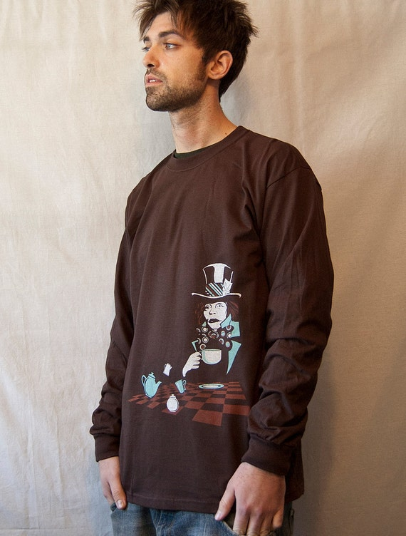 Men's Long Sleeve T-Shirt, Mad Hatter t-shirt,  Alice in Wonderland, SALE, Gift for him