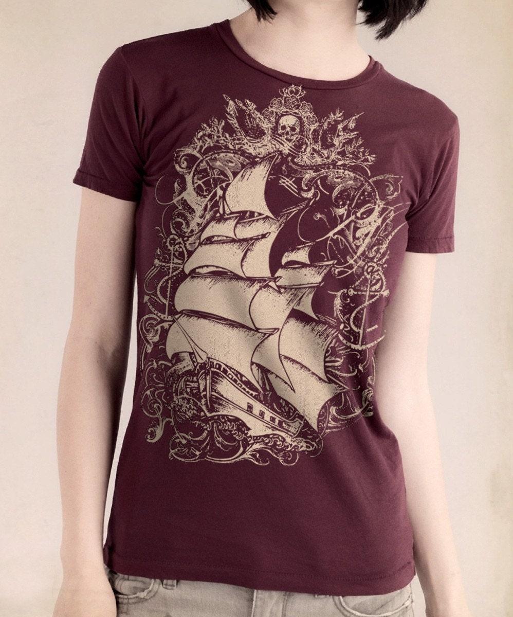 Pirate Ship Womens T Shirt Tall Ship Women 39 S Bordeaux