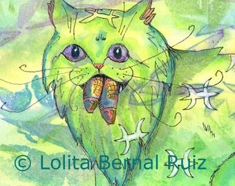Pisces cat art / fantasy cat / kitten with fish / zodiac / astrology / acrylic ink reproduction / 8x10 inches / P127