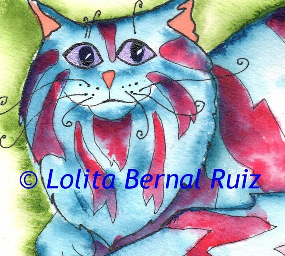 Tabby cat art / striped kitty painting / kitten art / red and blue / red tabby kitty / fat / fluffy / reproduction / 4 x 6 inches / P115