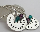 TWO My BFF hand stamped sterling silver necklaces with birthstone colored crystals