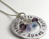 LOVE CIRCLE hand stamped personalized sterling silver necklace