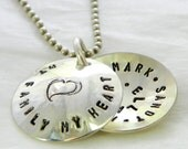 My Family My Heart hand stamped and personalized sterling silver faux locket - sterling locket - personalized