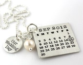 Our Wedding Day Mark Your Calendar Necklace personalized sterling silver necklace with pearl