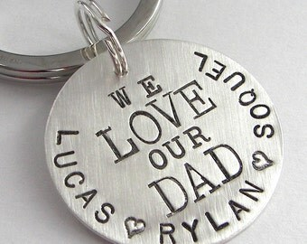 Personalized We Love hand stamped sterling silver keychain