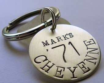 Car Lovers personalized hand stamped sterling silver keychain