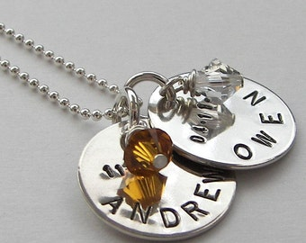 Two Disc Mother's Necklace - hand stamped and personalized with Swarovski crystals