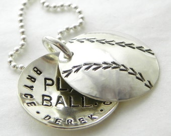 Baseball Mom Personalized Locket - Play Ball - hand stamped and personalized sterling silver faux locket