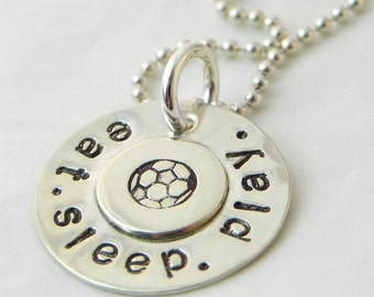 Eat. Sleep. Play. Soccer hand stamped sterling silver necklace