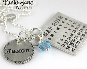 Personalized Calendar Necklace - hand stamped Mark Your Calendar sterling silver necklace with Fancy Bordered Name Charm and Crystal