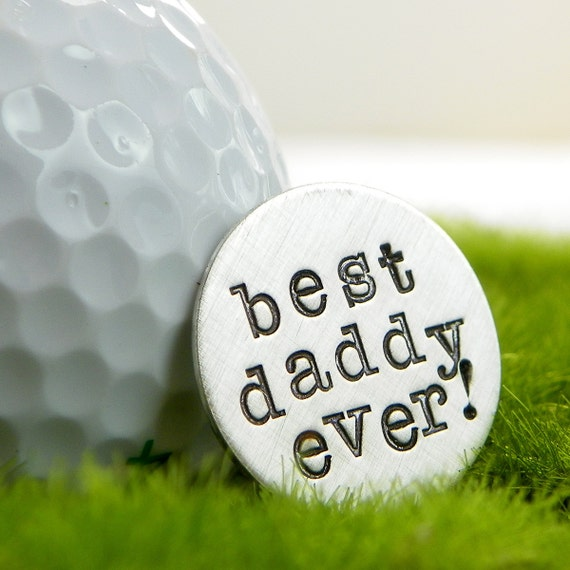 Pocket Token - Golf Ball Marker - Best Daddy Ever hand stamped sterling silver golf ball marker