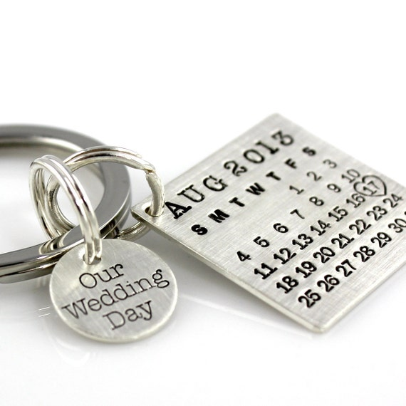 Our Wedding Day Keychain - Mark Your Calendar Keychain hand stamped and personalized sterling silver key chain with charm