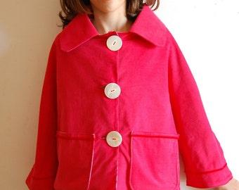 SIMPLY RED corduroy long sleeves jacket, girl handmade red corduroy coat, girl retro jacket