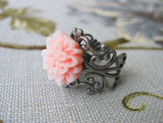 Dahlia Flower Ring Filigree Frosty Coral Pink