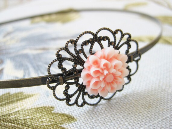 RESERVED Flower Headband and Jewelry Set - Brass Filigree Rustic Garden Party