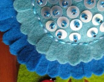 Sunflower Ladybug Pin - Blue