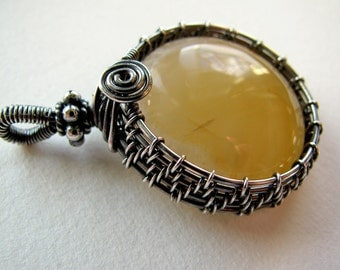 Wire Wrapped Agate Pendant, Handmade Sterling Silver Jewelry, Light Amber Round Pendant