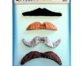 Novelty Costume Mustaches, Funny Sticky Mustaches, Moustache, Set of 4