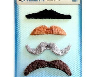 Novelty Fake Mustaches Funny Moustache Party Movember Stash Bash Set of 4