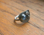 SALE - 25% off - Three Moons Ring - Size 9 - moonstone