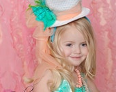 MERRY MADEMOISELLE Top Hat in White, Turquoise, and Peach for photo props, children's tea parties