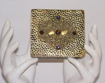 Antique Box - Jeweled Brass Box - Teak Wood - Hammered Brass - Vintage Jewel Casket