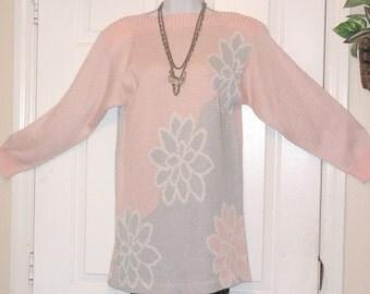 Vintage Pullover Sweater - BoHo - Mod Floral Mini Dress - Tunic - Pastel - AMI Petites