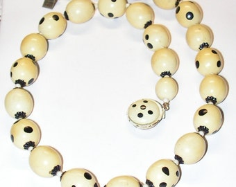 Vintage Beaded Necklace - Hand Painted Polka Dots - 1950s Fifties
