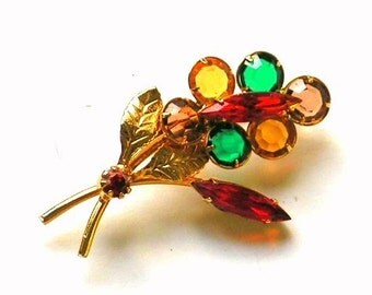Vintage Flower Brooch - Multicolor Crystals - Gold Tone Pin