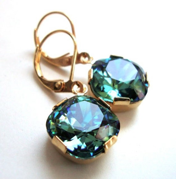 Erinite Green Cushion Cut Dangle Earrings