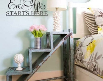 """Wall Decal Love Romance Marriage Happily Ever After Starts Here 114-23"""""""