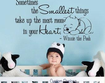 "Pooh Wall Decal - Nursery Baby Smallest things Medium 050-28"" (MEDIUM)"