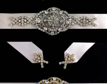 Gatsby Wedding Sash, Statement Bridal Belt, Art Deco Bridal Sash, Crystal Wedding Belt, Bridal Dress Jewelry, Gold or Silver Sash, COUNTESS